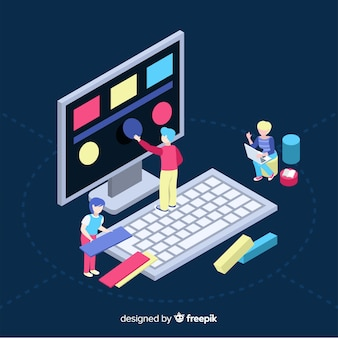 Isometric concept of people working with technology
