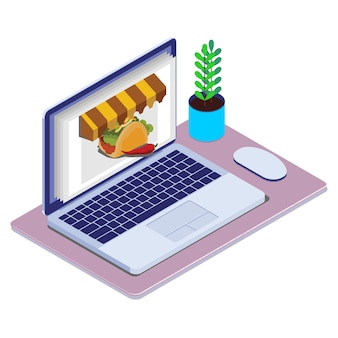 Isometric concept of product sales