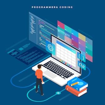 等尺性概念プログラマとコーディング。図。ウェブサイトのレイアウト。