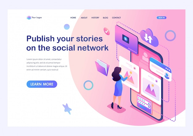 Isometric concept publish your stories on the social network,a young girl puts her photos on the internet. training of a young man. template landing page for website