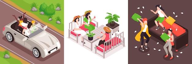 ワインを飲む車の戦いの枕に乗る女の子の正方形の構成で設定された等尺性の概念