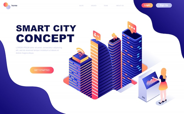 Isometric concept of smart city technology