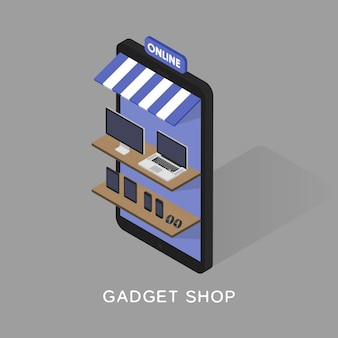 Isometric concept store online shopping of gadgets and electronics.