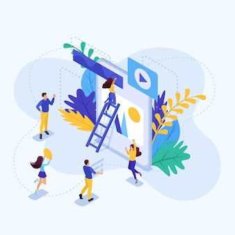 Isometric concept teamwork of a big team on a project. concept for web
