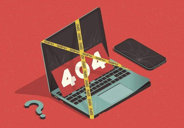 Isometric concept on the theme of 404 error with laptop