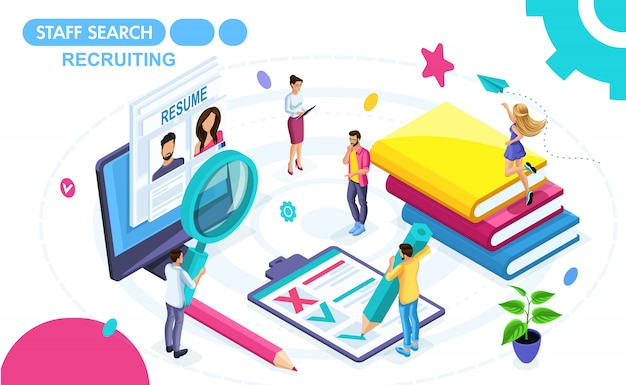 Isometric concept of viewing a resume in a recruiting agency. isometric people on the move, view summary. concepts for web banners and printed materials