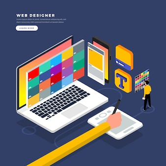 Isometric   concept web er.  illustration. website layout design.