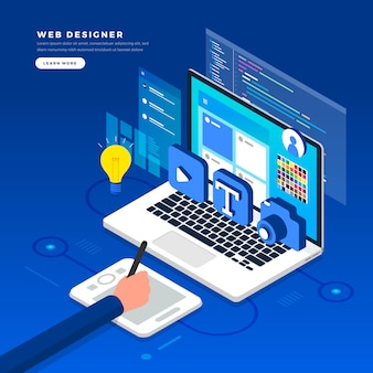 Isometric   concept web er.  illustration. website layout design.