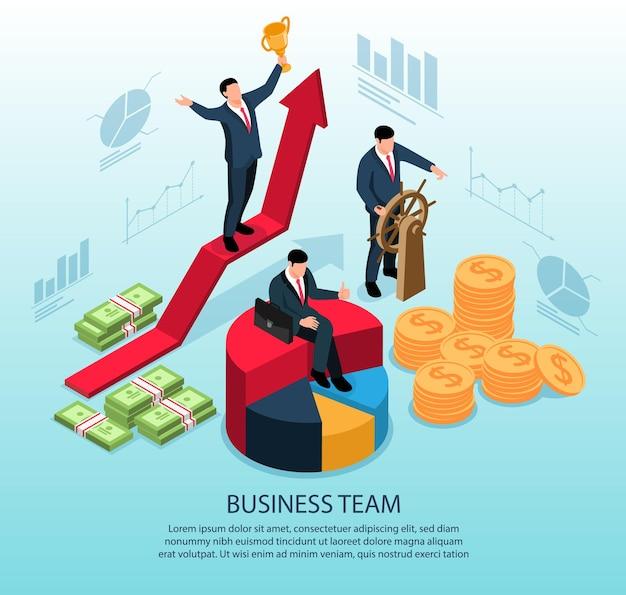 カップと男を操るビジネスチームの勝者との等尺性の概念