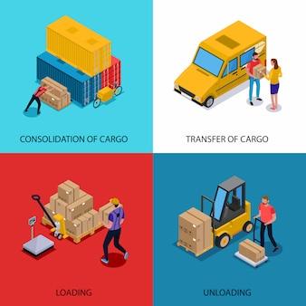 Изометрическая концепция с консолидацией загрузки разгрузки и доставки грузов, изолированных на красочные