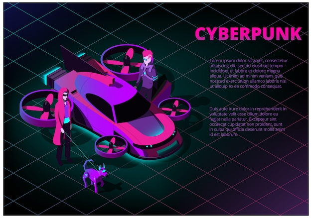 Isometric concept with futuristic flying car, man, woman and robot dog on the theme of cyberpunk