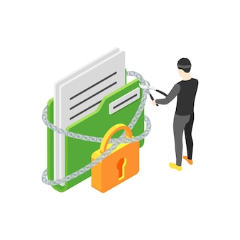 Isometric concept with hacker breaking chain to get personal data 3d
