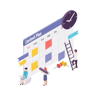 Isometric concept with making plan for blog or vlog 3d illustration