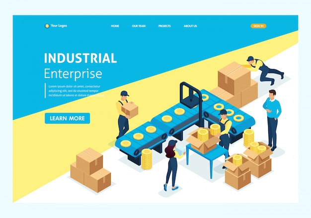 Isometric concept workflow in large warehouses. website template landing page