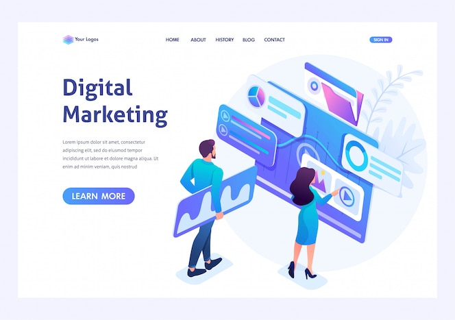 Isometric concept young entrepreneurs insist data for digital marketing, advertising on the internet.template landing page for website