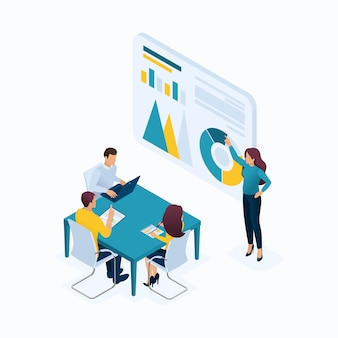 Isometric concept young entrepreneurs in office, managers, head hunters, agents, hr, workflow. modern illustration concepts for website