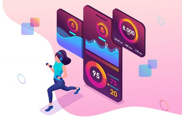 筋力トレーニングモバイルアプリ中に等尺性概念の若い女の子は、gps信号を介して追跡します。