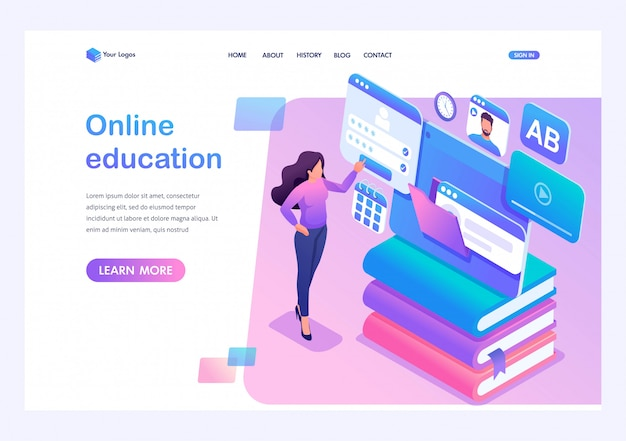 Isometric concept young girl uses the tablet for online learning. template landing page for website