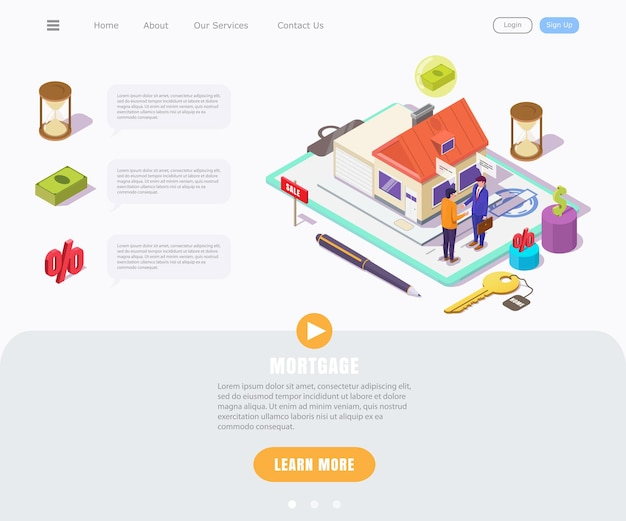 Isometric concept of a young guy taking out a mortgage on a house, landing page for real estate business