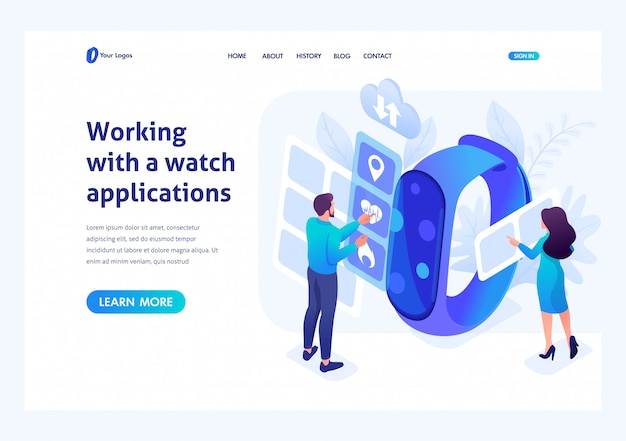 Isometric concept young people working with watch apps. header concept. template landing page for website