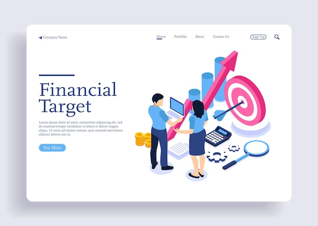 Isometric conceptual illustration of achieving business goals hit the target with characters