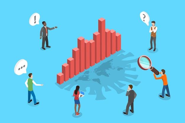 Изометрическая концептуальная иллюстрация статистики распространения коронавируса, влияние на бизнес и экономику.