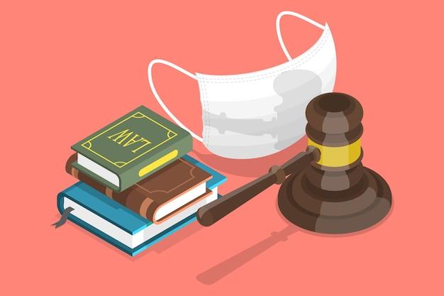 Изометрические концептуальные иллюстрации подзаконных актов об обязательных масках.