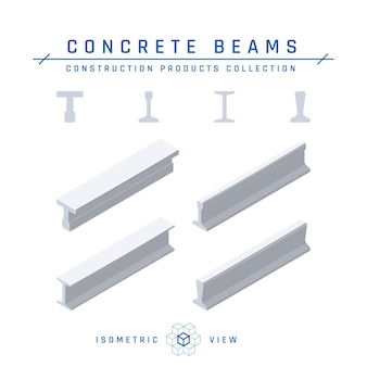 Isometric concrete beams in flat style.