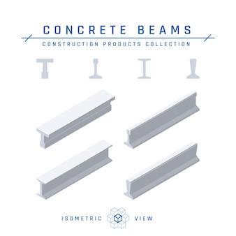 플랫 스타일의 등각 투영 콘크리트 빔.