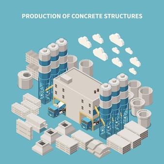 Isometric concrete cement production composition illustration