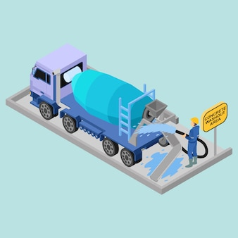Isometric concrete washout area with concrete truck