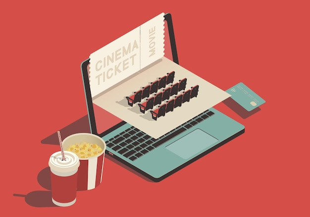 Isometric conept on the theme of online buying cinema tickets with laptop