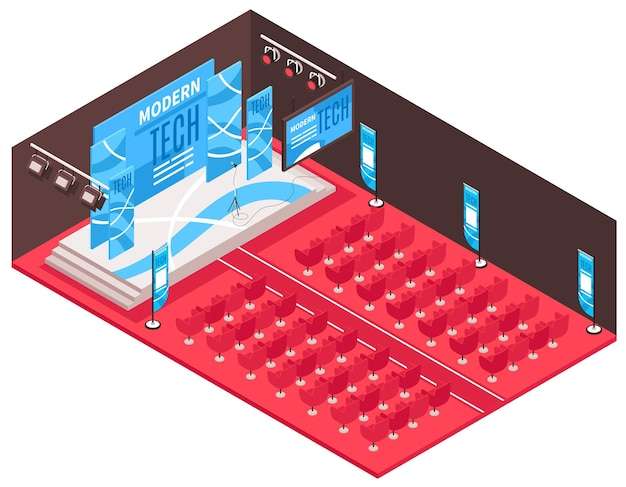 ステージと座席のイラスト付きの投影スクリーンを備えた式典会場のビューと等尺性の会議ホールの構成