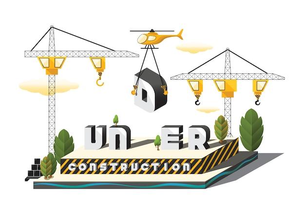 Isometric under construction 3d model vector illustration