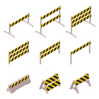 Isometric under construction barrier set isolated on white background