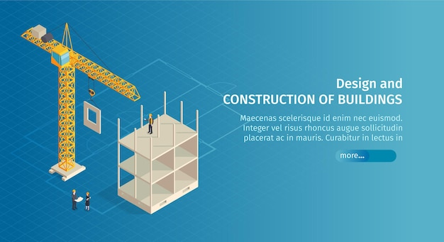 Isometric construction horizontal banner with slider button text and images of crane with half-constructed building