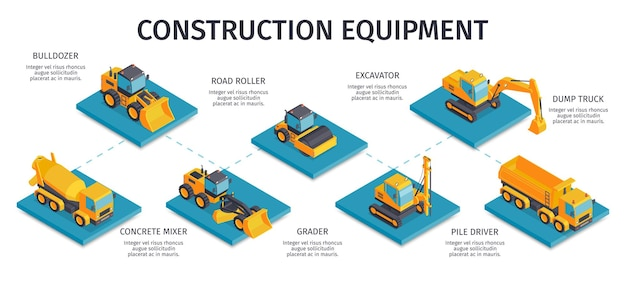 Isometric construction infographics with captions and isolated platforms with pieces of civil engineering machinery
