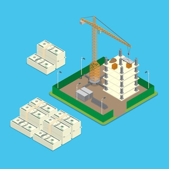 Isometric construction site land price value investment business concept
