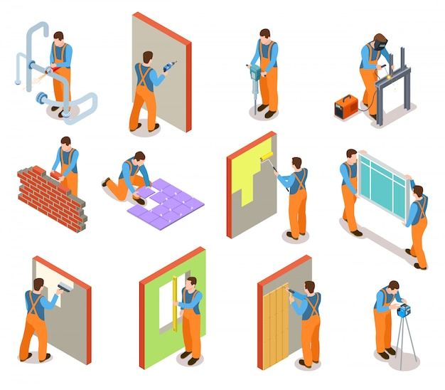 Isometric construction workers set
