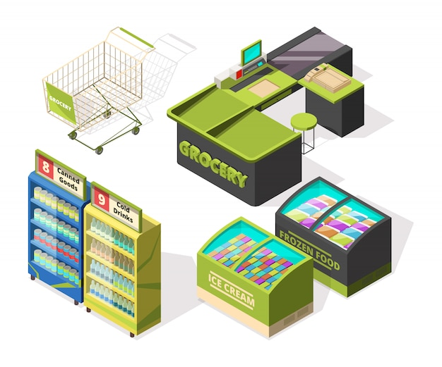Isometric constructions for supermarket or warehouse. shopping cart, terminal and food counters