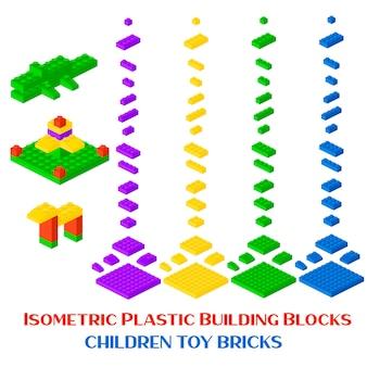 Isometric constructor blocks 3d