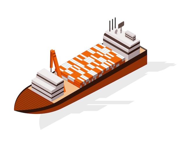 等尺性コンテナ貨物船。水上配達。輸送貨物輸送。ベクトルアイソメアイコンまたはインフォグラフィック要素。海上輸送。
