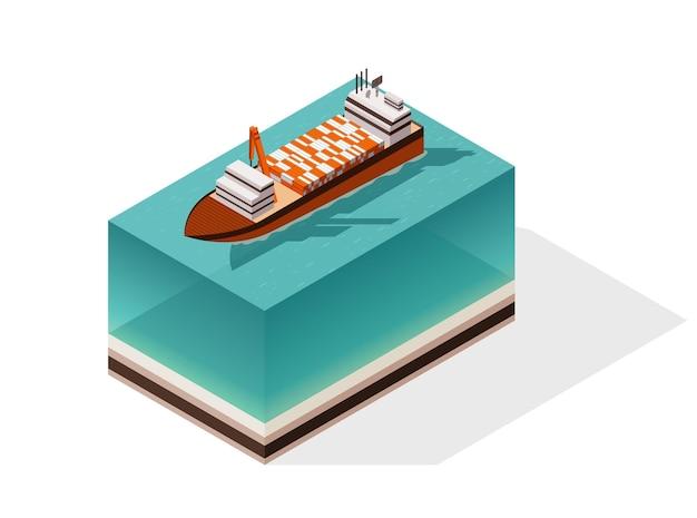 等尺性コンテナ貨物船。水上配達。輸送貨物輸送。ベクトルアイソメアイコンまたはインフォグラフィック要素。海上輸送