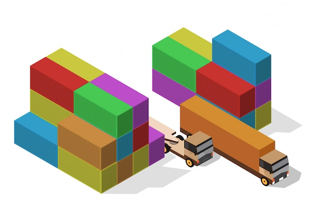 Isometric of container and cargo truck