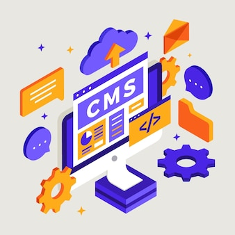 Isometric content management system illustration