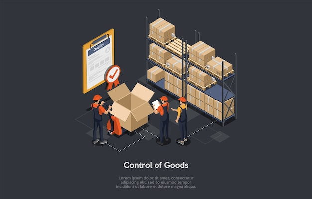 Isometric control of goods warehouse workers checking goods, certificate of quality with checkmark for stock quality, quality control of parcel boxes, process of packaging cargo. vector illustration.