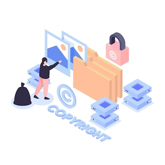 Isometric copyright concept with woman and lock