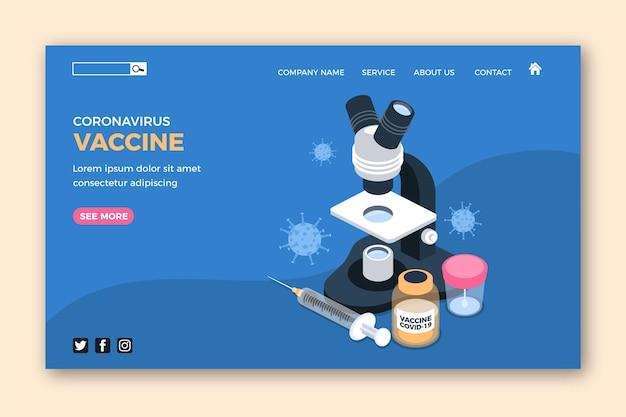 Pagina di destinazione del vaccino contro il coronavirus isometrico