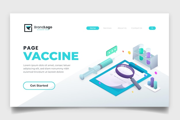 Целевая страница изометрической вакцины против коронавируса
