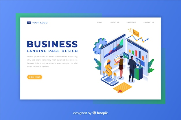 Isometric corporate landing page
